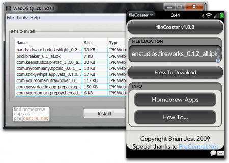 WebOS Quick Install File Coaster