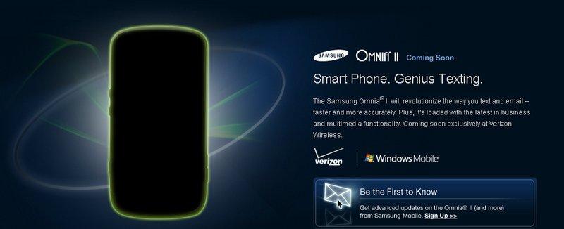 Samsung Omnia II Landing