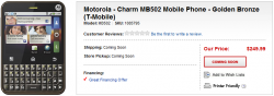 T-Mobile Motorola Charm Listed by Best Buy