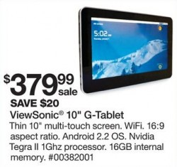 Viewsonic 10-inch G-Tablet via Sears This Tuesday