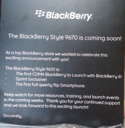 Sprint BlackBerry Style Promo Materials Arriving in Sprint Stores