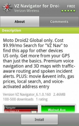 VZNavigator for Droid 2 Global Surfaces in Android Market