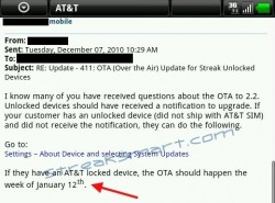 Android Froyo Update for AT&T Dell Streak Delayed Until January 12th