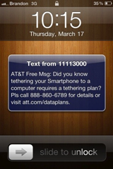 AT&T Tethering message