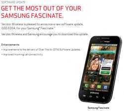 Verizon Pushing Small Maintenance Update for Samsung Fascinate