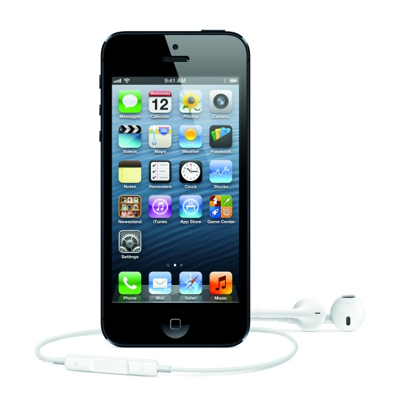 Black iPhone 5 with EarPods