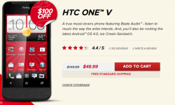 Deal: HTC One V - $49.99 Shipped