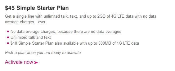 T-Mobile prepaid Simple Starter