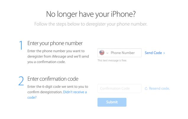 Apple iMessage deregister